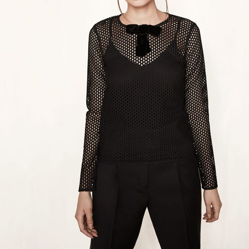 Mesh top with velvet bow : Tops color Black 210