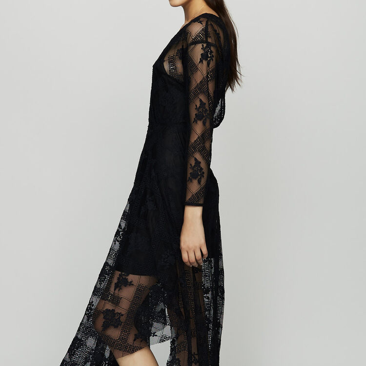 Long-sleeved scarf dress in lace : Dresses color Black 210