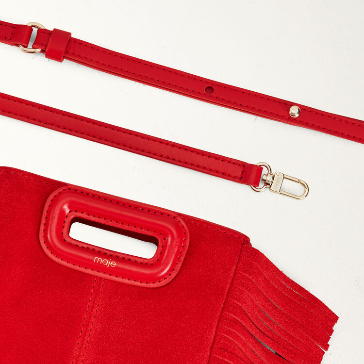 Mini M bag with suede fringe : M Mini color Red