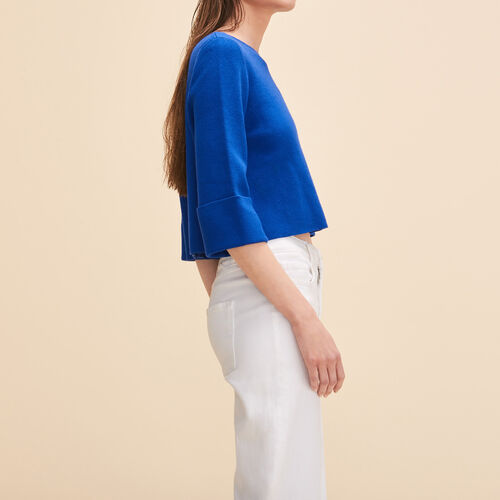 Cropped jumper in run-resistant knit : Sweaters & Cardigans color Blue