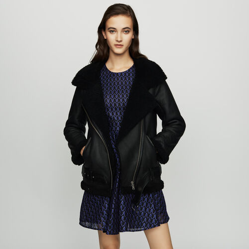 Biker jacket in shearling : Coats color Black 210
