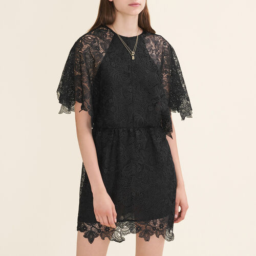 Short guipure dress : Dresses color Black 210