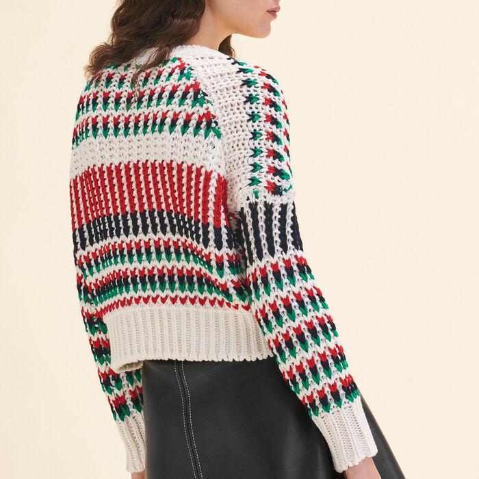 Decorative multi-coloured knit jumper -  - MAJE