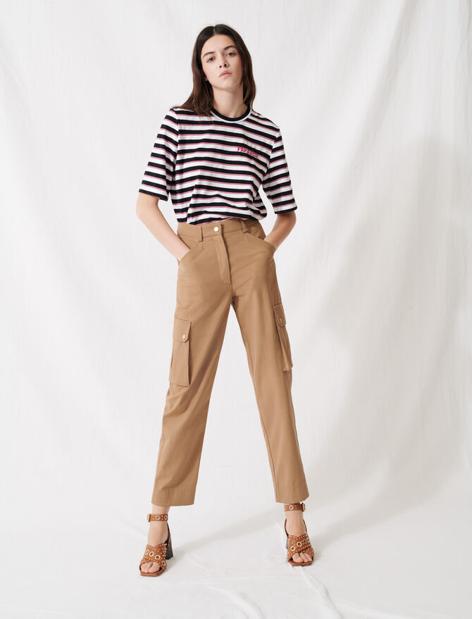 Camel cotton trousers - Trousers & Jeans - MAJE