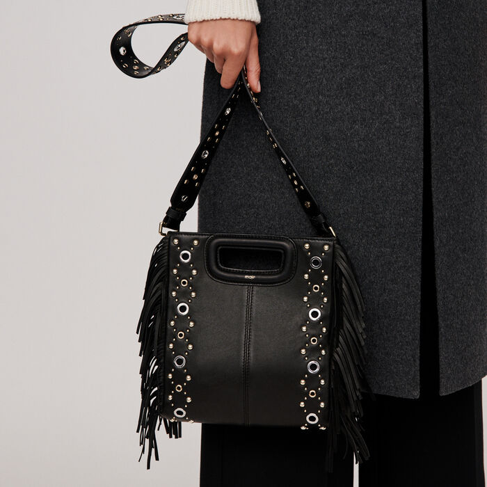 Leather M bag with eyelets : M bag color Black