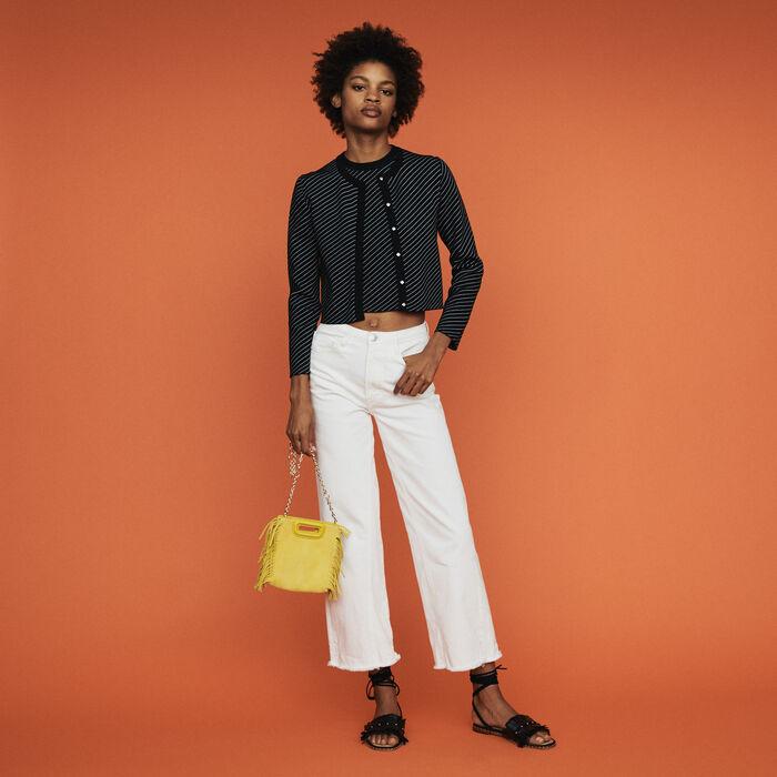 Cropped stripe cardigan : Knitwear color Stripe