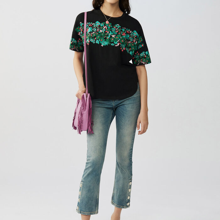 Oversized embroidered cotton t-shirt : T-Shirts color Black 210