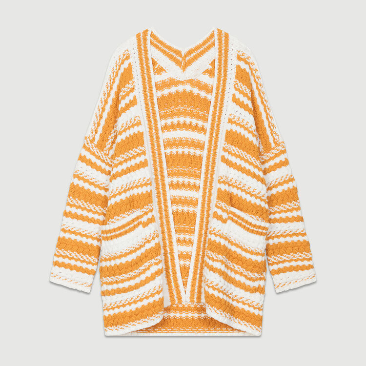 Oversized bicolored knit cardigan : Knitwear color Multi-Coloured