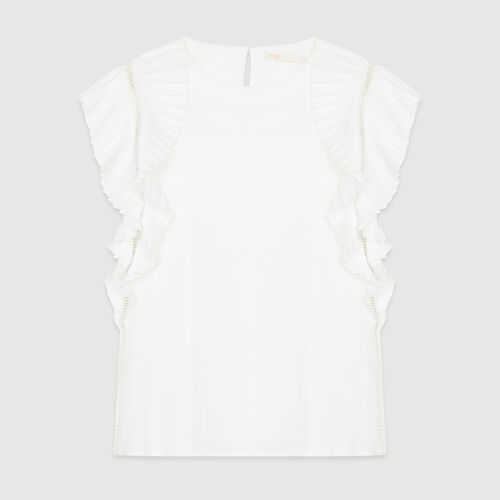 Top with pleated sleeves : Tops color ECRU