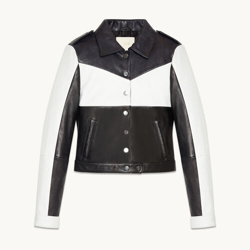 Cropped two-tone leather jacket - null - MAJE
