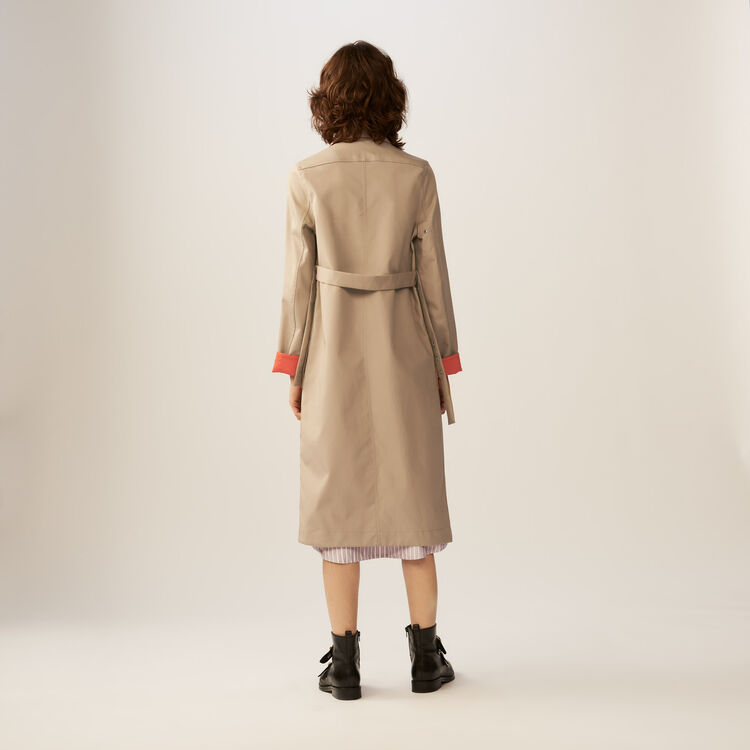 Reversible two-tone trench coat : Coats color Beige