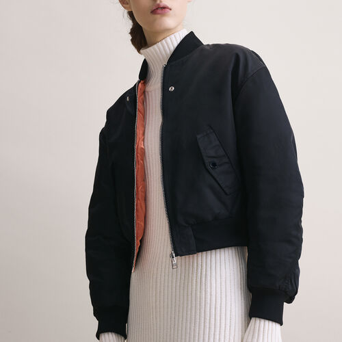 Cropped reversible bomber jacket : Coats & Jackets color Black 210