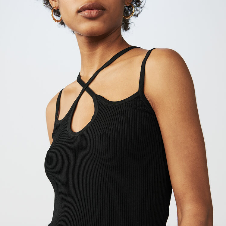 Knit top with criss-cross straps : Knitwear color Black 210