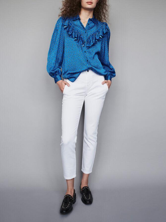 Printed silk ruffled shirt - SoldesBE_ALL - MAJE