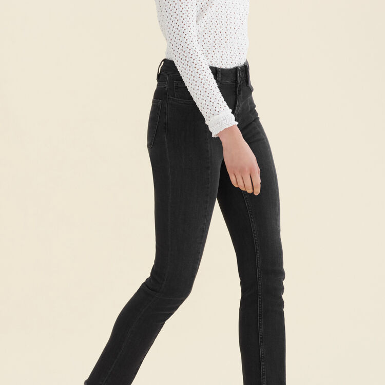 Straight-cut jeans with asymmetric hem : Trousers & Jeans color Black 210
