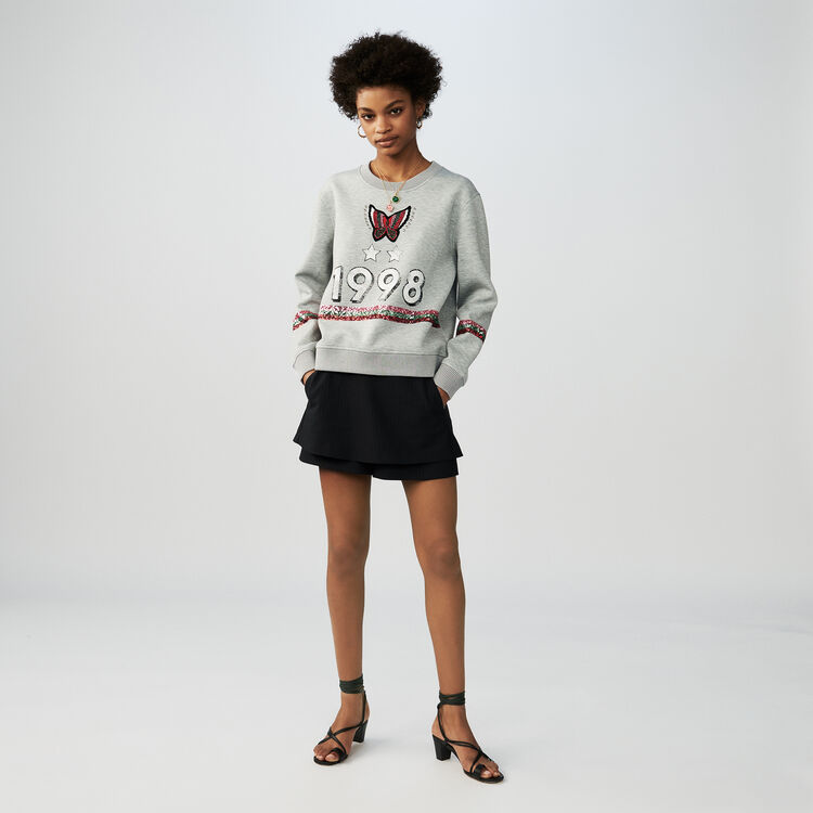 Cotton sweatshirt with sequins : Knitwear color Grey