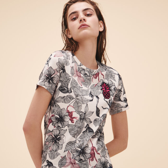 Printed T-shirt with crest -  - MAJE