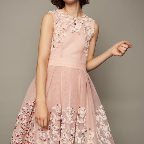 Basket weave embroidered dress : Dresses color Pink