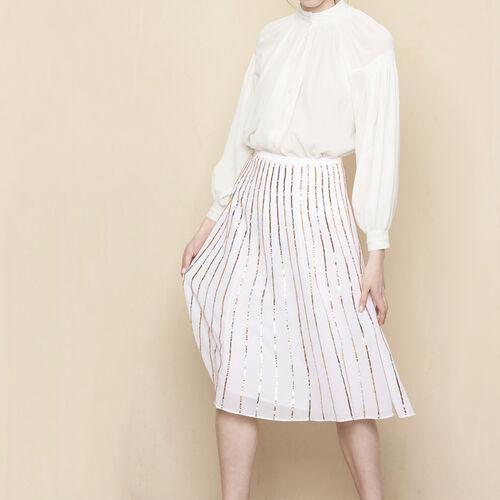 Sequin striped skirt : Skirts & Shorts color Ecru