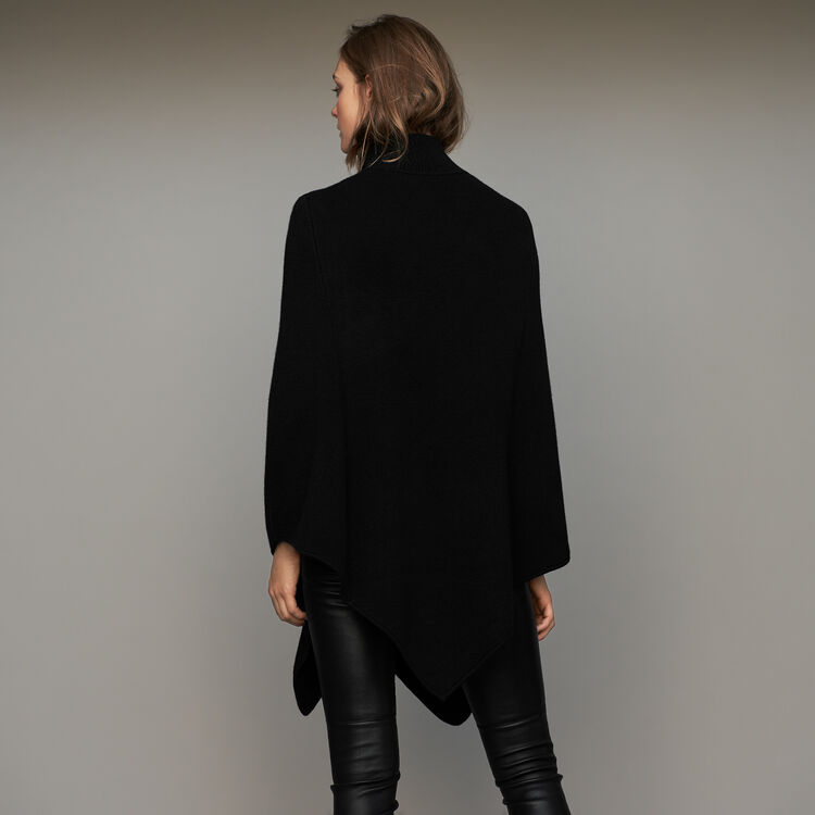 Funnel collar poncho in wool blend : Knitwear color Black 210