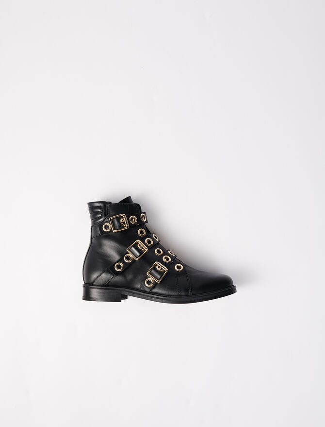Multi-strap flat boots with eyelets -  - MAJE