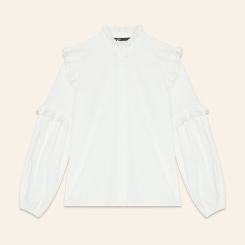 Poplin shirt with frills : Tops color White