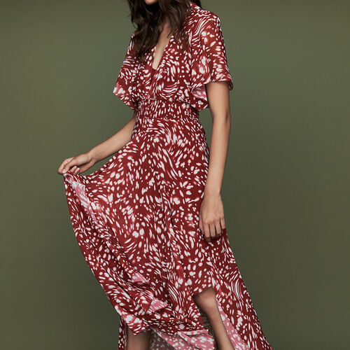 Long asymmetric printed dress : Dresses color PRINTED