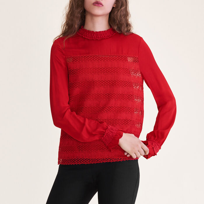 Embroidered top : Tops color Red