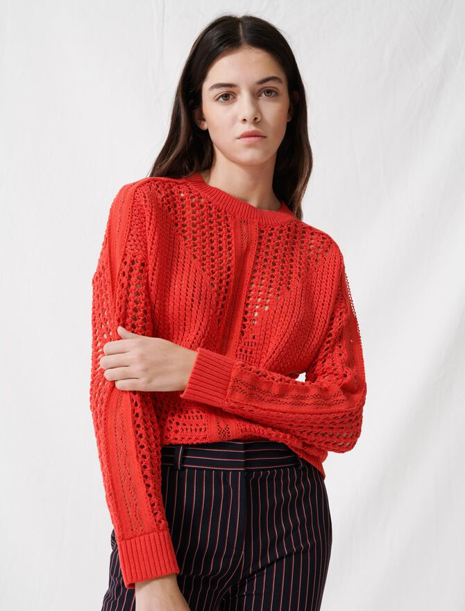 Crochet-style jumper - Pullovers & Cardigans - MAJE