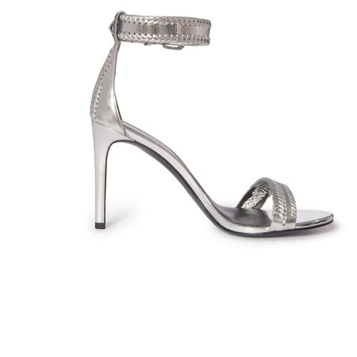 Heeled sandals with plaiting : Accessories color Silver
