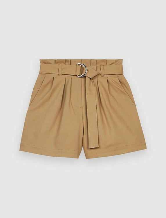Belted, stretch cotton shorts - Skirts & Shorts - MAJE