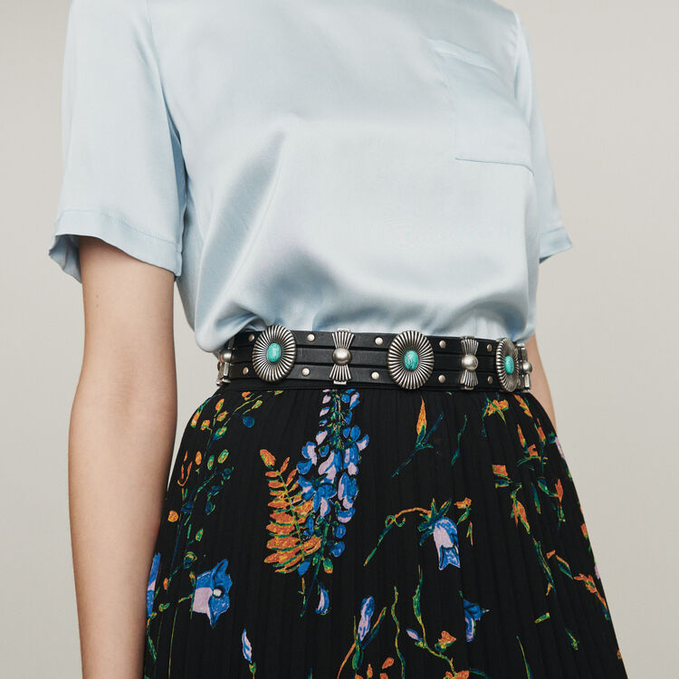 High-waisted leather belt with studs : Belts color Black 210