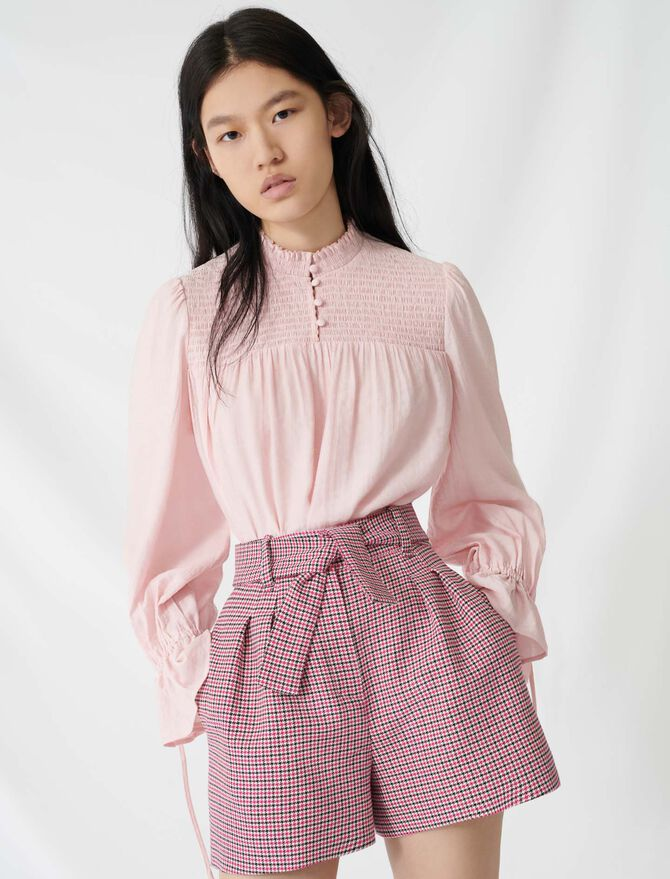 Belted checked shorts - Skirts & Shorts - MAJE