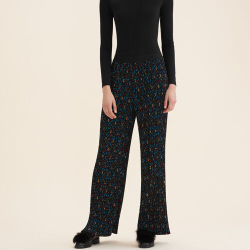 Pleated trousers with floral print - Trousers - MAJE
