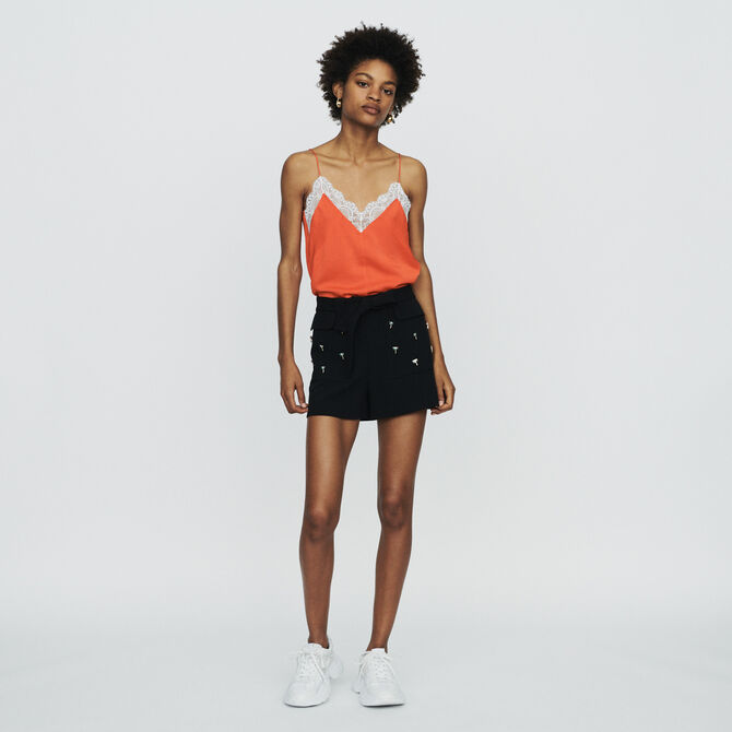 Crepe shorts with palm jewels - See all - MAJE