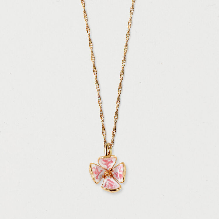Pink flower necklace : Jewelry color GOLD