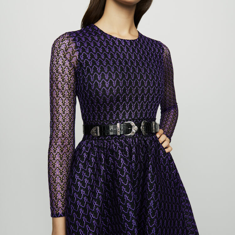 Skater skirt in basket knit : Dresses color Purple