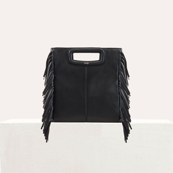 M bag with leather fringes : M bag color Black 210