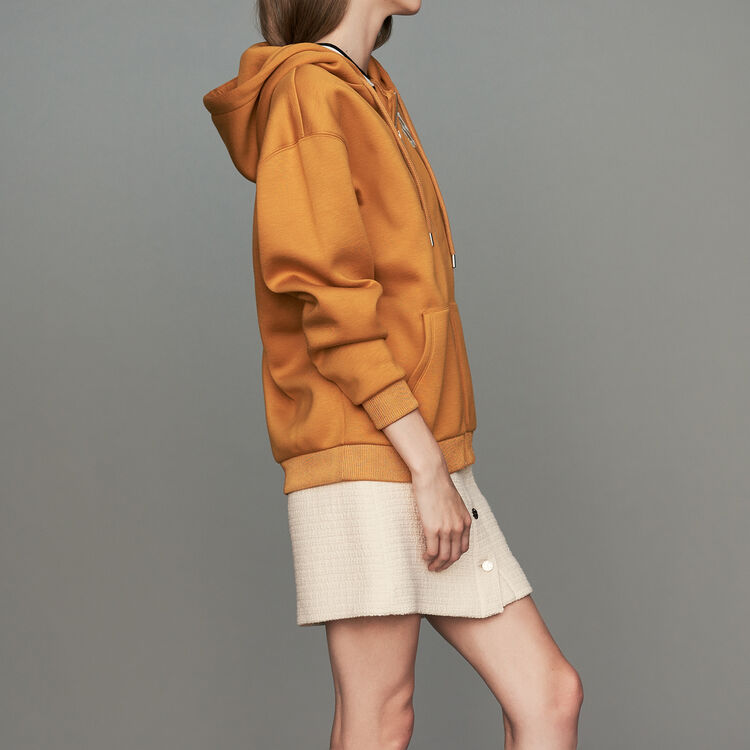 Hooded sweatshirt with zip : Sweatshirts color Camel