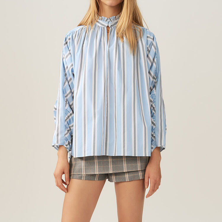 Oversized striped blouse with ruffles : Tops color PRINTED