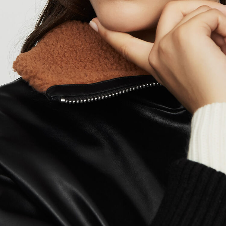 Leather-style jacket with fur collar : Jackets color Black 210