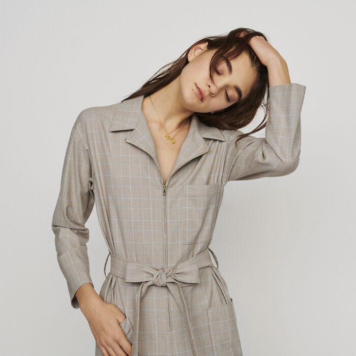 74d00c3bf8a PIKAM Belted checked jumpsuit - Trousers - Maje.com