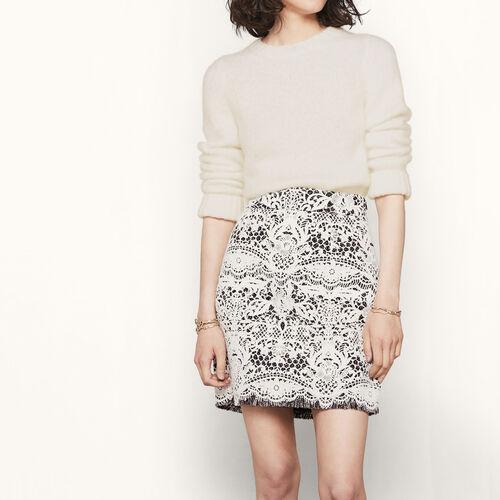 Short bonded guipure skirt : Skirts & Shorts color Ecru