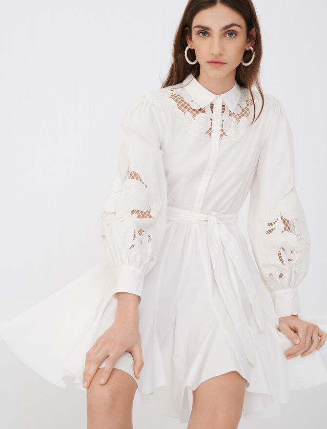 Cotton and guipure lace skater dress - Dresses - MAJE