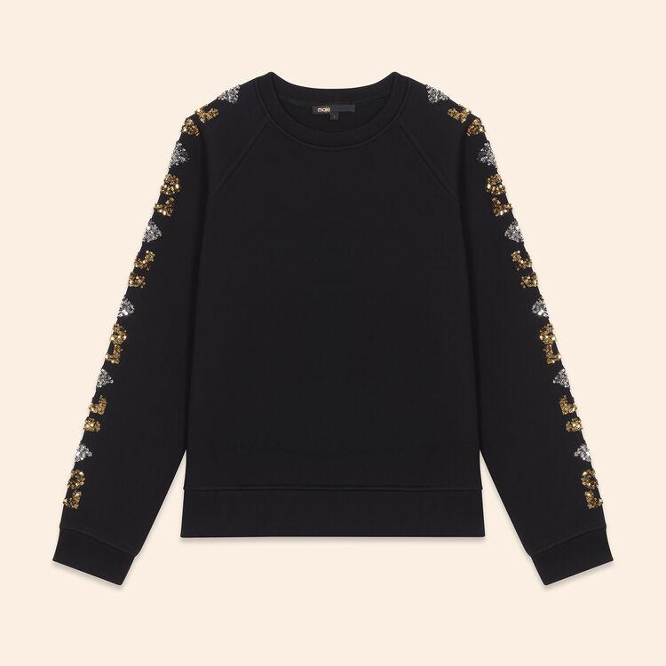 Neoprene-look sweatshirt with sequins : Knitwear color Black 210