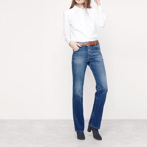 Bootcut jeans with press studs : Trousers & Jeans color Denim