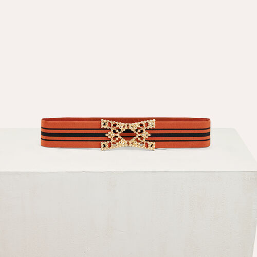 Wide elasticated belt with stripes : Accessoires color Brick