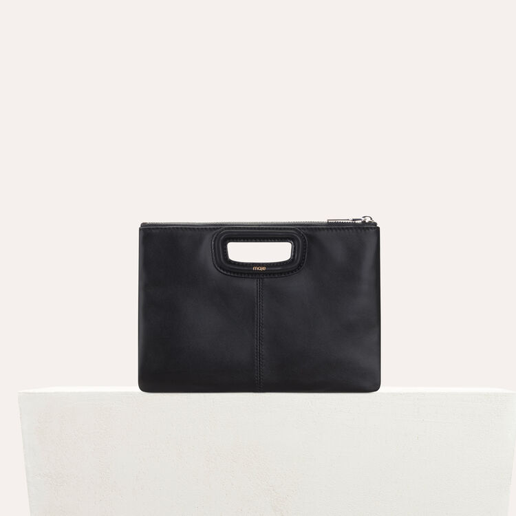 M Duo clutch in crocodile : Leather color Black 210