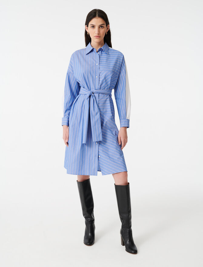 Shirt dress with printed stripes - Dresses - MAJE