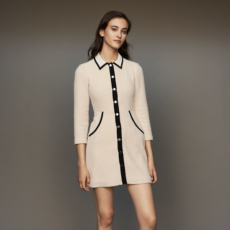 Tweed dress : Dresses color Ecru
